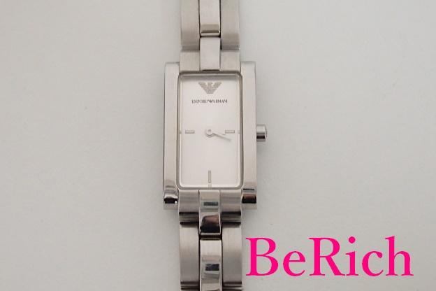 エンポリオ アルマーニ EMPORIO ARMANI レディース 腕時計 AR 5433 シルバー 文字盤 SS ブレス レクタンギュラー ロゴ アナログ クォーツ QZ ウォッチ 【中古】 bt1552