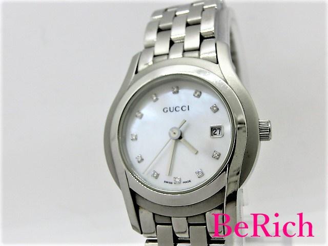 グッチ 5500L 11Pダイヤ レディース 腕時計 SS デイト クォーツ QZ シェル文字盤 GUCCI 【中古】【送料無料】 bt1669