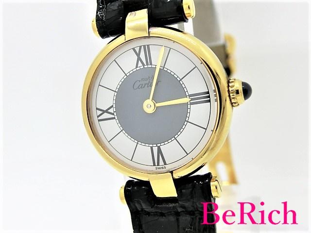 カルティエ マストヴァンドーム 590004 レディース 腕時計 SV925/レザー ホワイト/グレー文字盤 クォーツ QZ Cartier 【中古】【送料無料】 sb257