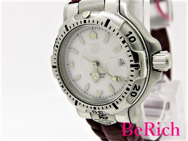 タグホイヤー WH1311-K1 プロフェッショナル 6000シリーズ レディース 腕時計 デイト 200m防水 クォーツ QZ ホワイト文字盤 SS/レザー TAGHEUER 【中古】【送料無料】 bt1737