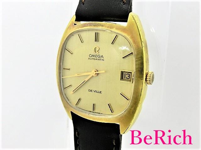 OH済 オメガ デヴィル Cal1002 162.045 メンズ 腕時計 自動巻き AT デイト SS/レザー ゴールド文字盤 OMEGA 【中古】【送料無料】 bt1776