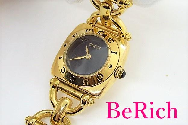 グッチ GUCCI レディース 腕時計 6400L 黒 ブラック 文字盤 SS ゴールド ブレス アナログ クォーツ QZ ウォッチ 【中古】【送料無料】 bt1786