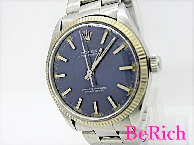 ロレックス 1005 オイスターパーペチュアル 5番代 ブルー文字盤 メンズ 腕時計 自動巻き AT SS/WG ROLEX 【中古】【送料無料】 bt1840