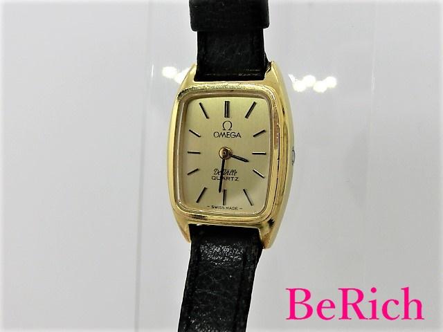 オメガ Cal1350 デヴィル レディース 腕時計 クォーツ QZ SS/GP/レザー ゴールド文字盤 OMEGA 【中古】【送料無料】 bt1849
