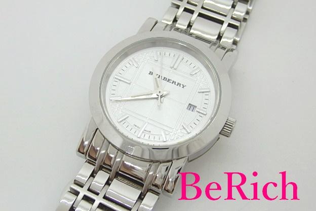 バーバリー BURBERRY ヘリテージ チェック デイト 卸売り 腕時計 BU1351 シルバー 文字盤 SS ロゴ 中古 送料無料 ウォッチ アナログ bt1940 QZ ブレス 25%OFF クォーツ