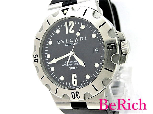 ブルガリ ディアゴノ スクーバ SD38S メンズ 腕時計 200m防水 デイト クロノメーター SS/ラバー 自動巻き AT BVLGARI 【中古】【送料無料】 sb333