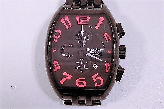 エンジェルクローバー DP38 ダブルプレイ クロノグラフ デイト メンズ 腕時計 クォーツ SS ブラック文字盤 【中古】ht1994