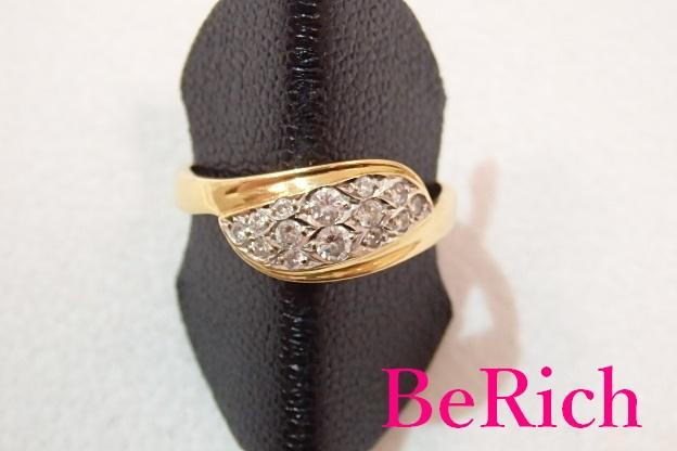 K18 YG WG コンビ ダイヤモンド 0.22ct デザイン リング 指輪 14号 18金 750 YG WG イエロー ホワイト ゴールド メレ ダイヤ 宝石 ジュエリー アクセサリー ファッション 小物 婦人 レディース  【中古】 th1276