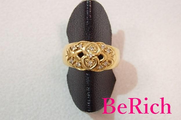 ジュエリーマキ K18 YG ダイヤモンド 0.12ct デザイン リング 指輪 10号 18金 750 イエロー ゴールド メレ ダイヤ 宝石 ジュエリー アクセサリー ファッション 小物 メンズ レディース 【中古】 th1333