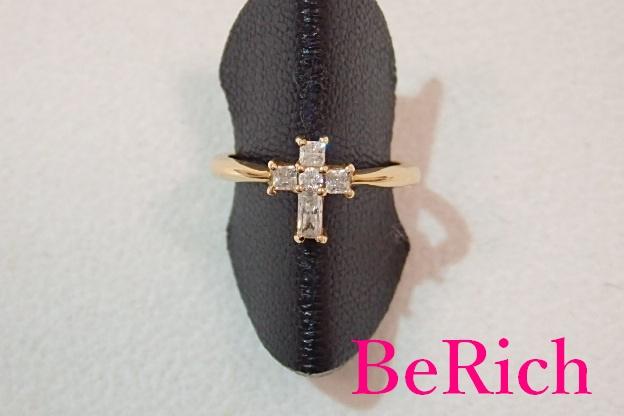 K18 YG ジルコニア 付 クロス 十字架 モチーフ デザイン リング 指輪 9号 18金 750 ジュエリー アクセサリー ファッション 小物 婦人 レディース  【中古】 th1494