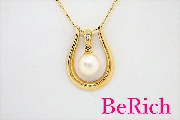 K18 K14 YG パール 真珠 7mm 珠 付 揺れる デザイン ネックレス 18金 750 ゴールド ペンダント ジュエリー アクセサリー 【中古】th3378