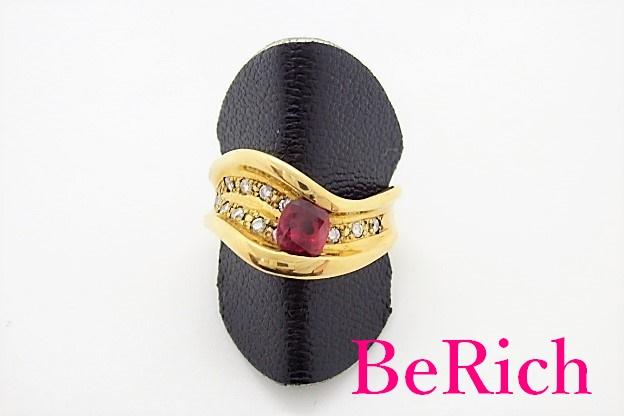 K18 YG ルビー 0.54ct ダイヤモンド 0.22ct デザイン リング 指輪 14号 18金 750 メレ 宝石 ジュエリー アクセサリー 【中古】【送料無料】 th3399