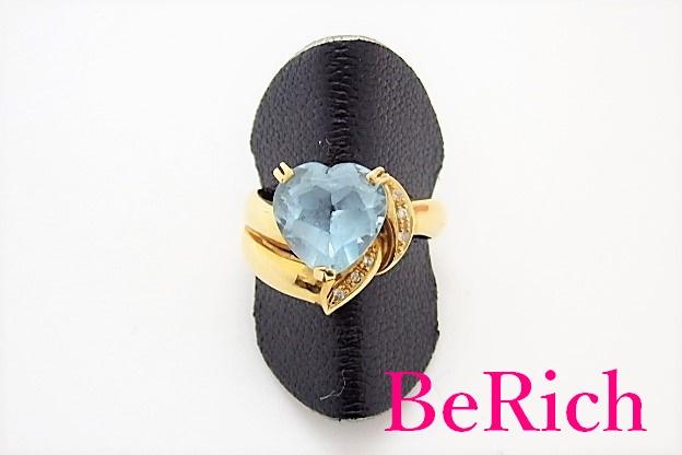 K18 YG ブルー トパーズ ダイヤモンド 0.04ct 付 ハート デザイン リング 指輪 12号 18金 750 メレ 宝石 ジュエリー アクセサリー 【中古】th3405