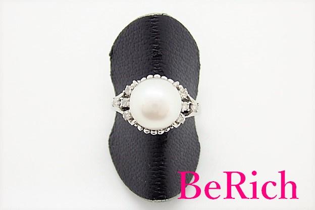 Pt900 プラチナ ボタン パール 真珠 6 - 9mm ダイヤモンド 0.12ct デザイン リング 指輪 10.5号 メレ 宝石 ジュエリー アクセサリー 【中古】【送料無料】 th3579