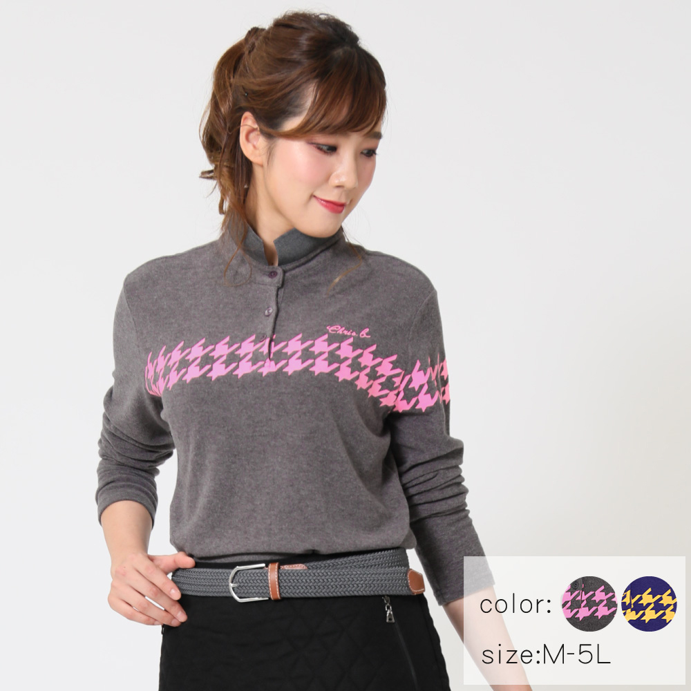 【選べる6サイズ♪】 千鳥格子柄プリントポロシャツ