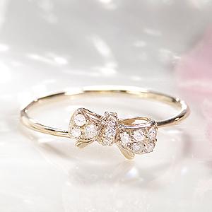 ファッション ジュエリー アクセサリー レディース 指輪 リング ゴールド K10 プレゼント りぼん リボン クリスマス 4月誕生石 ダイヤ リング ダイヤモンド リング ピンキー 送料無料 品質保証書 代引手数料無料 ラッピング無料