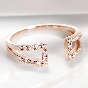 ☆K10PG/WG/YG ダイヤ フォークリング☆指輪 リング ゴールド K10 10k 10金 人気 可愛い ダイヤ リング ダイヤモンド リング ピンキー ピンキーリング 流行 C型 c型 送料無料 品質保証書 代引手数料無料 ラッピング無料