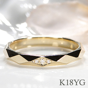 K18YG/PG/WG ダイヤモンド リング【送料無料】ジュエリー 指輪 可愛い リング 人気 18k 18金 幾何学模様 シンプル リング 品質保証書 新作 プレゼント おしゃれ 代引手数料無料 ラッピング無料