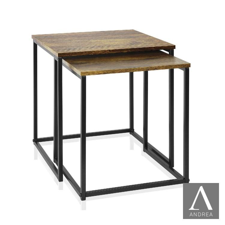 サイドテーブル2個セット|ANDREA MU67000 ウッドテーブル スクエア キッチン インテリア 装飾 おしゃれ かっこいい モダンカジュアル ANDREA HOUSE アンドレアハウス スペイン バルセロナ デザイナーズ [在庫有り]