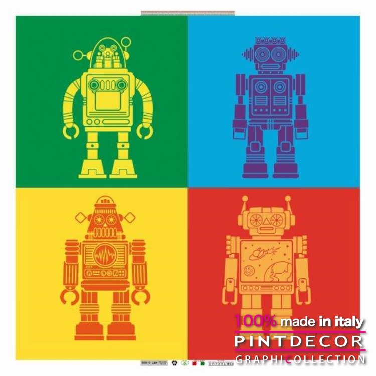 デコレーションパネル PINTDECOR グラフィコレクション ROBOT G1628|ピントデコール イタリア アートパネル ウォールデコ ペインティング 絵画 リビング インテリア デザイン モダン ホテルライク 新居 イタリア直輸入