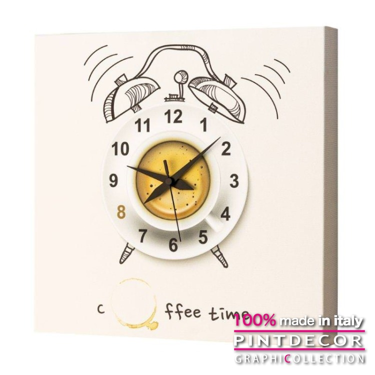 ウォールクロック PINTDECOR グラフィコレクション COFFEE TIME G1718|ピントデコール イタリア アート クロック 壁時計 リビング インテリア デザイン モダン ホテルライク 新居 イタリア直輸入