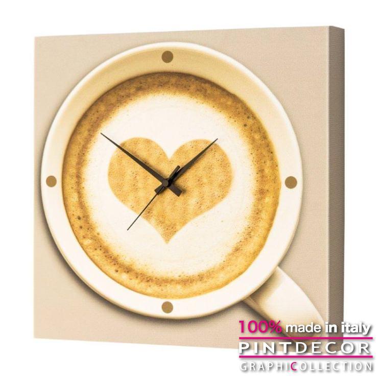 ウォールクロック PINTDECOR グラフィコレクション CAPPUCCINO TIME G1720|ピントデコール イタリア アート クロック 壁時計 リビング インテリア デザイン モダン ホテルライク 新居 イタリア直輸入