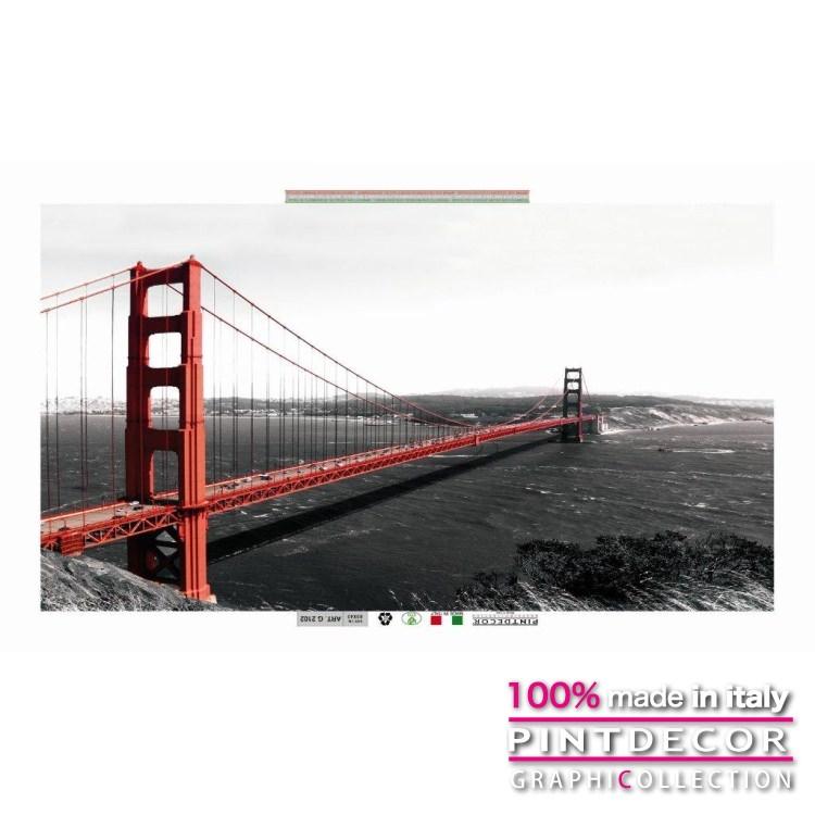 デコレーションパネル PINTDECOR グラフィコレクション GOLDEN GATE BRIDGE G2102|ピントデコール イタリア アートパネル ウォールデコ ペインティング 絵画 リビング インテリア デザイン モダン ホテルライク 新居 イタリア直輸入