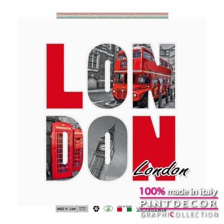デコレーションパネル PINTDECOR グラフィコレクション LONDON IN LETTERE G2200|ピントデコール イタリア アートパネル ウォールデコ ペインティング 絵画 リビング インテリア デザイン モダン ホテルライク 新居 イタリア直輸入