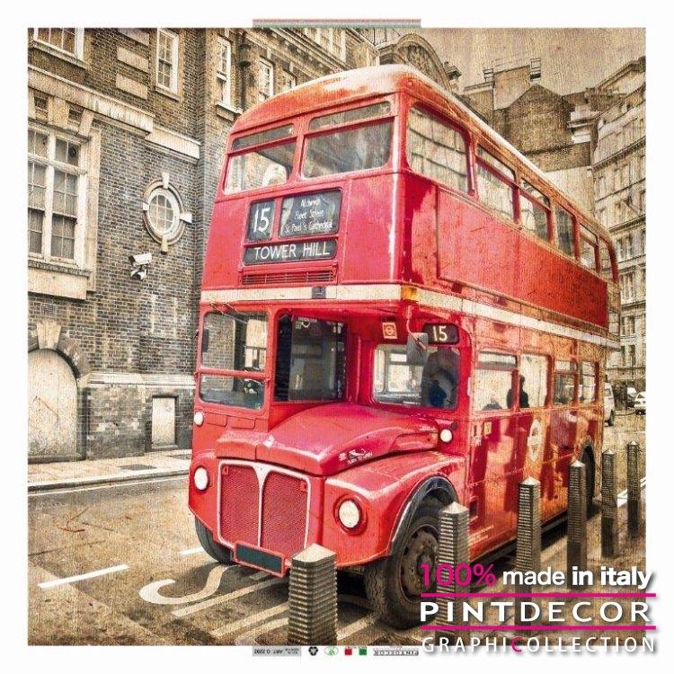 デコレーションパネル PINTDECOR グラフィコレクション RED BUS G2202|ピントデコール イタリア アートパネル ウォールデコ ペインティング 絵画 リビング インテリア デザイン モダン ホテルライク 新居 イタリア直輸入