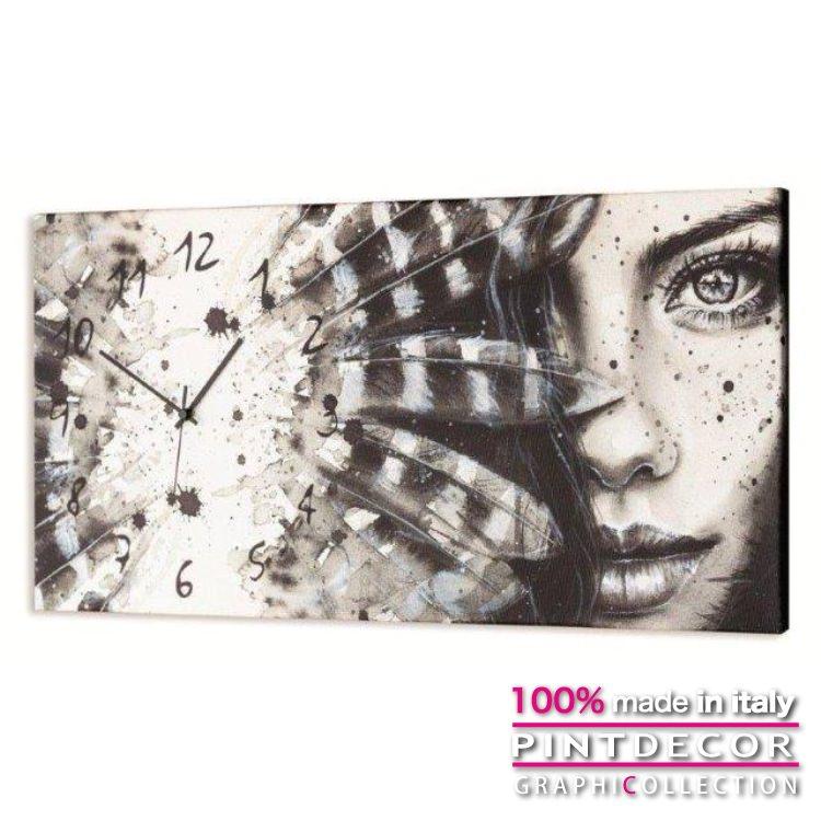 ウォールクロック PINTDECOR グラフィコレクション CHEROKEE GIRL G2490|ピントデコール イタリア アート クロック 壁時計 リビング インテリア デザイン モダン ホテルライク 新居 イタリア直輸入