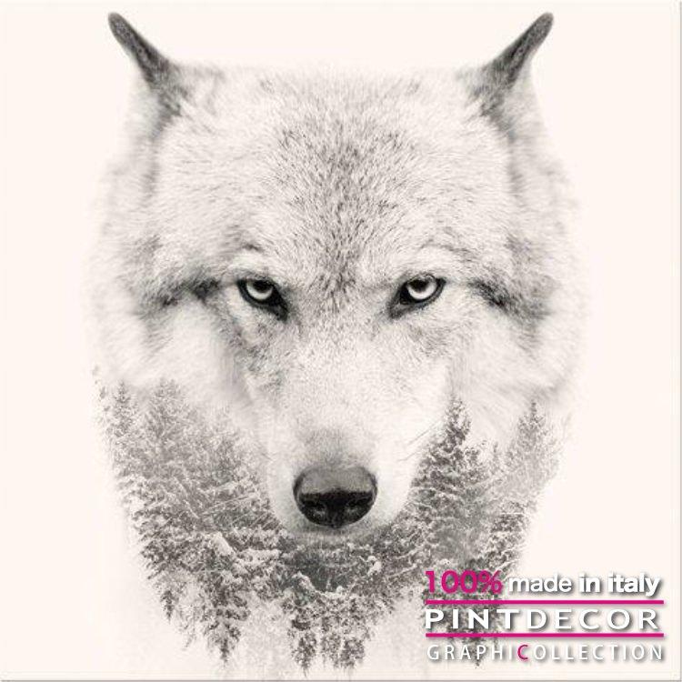 デコレーションパネル PINTDECOR グラフィコレクション WHITE WOLF  G3322|ピントデコール イタリア アートパネル ウォールデコ ペインティング 絵画 リビング インテリア デザイン モダン ホテルライク 新居 イタリア直輸入