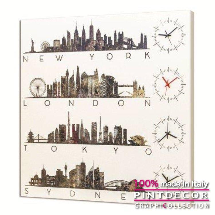 ウォールクロック PINTDECOR グラフィコレクション LONDON TIME G3566|ピントデコール イタリア アート クロック 壁時計 リビング インテリア デザイン モダン ホテルライク 新居 イタリア直輸入