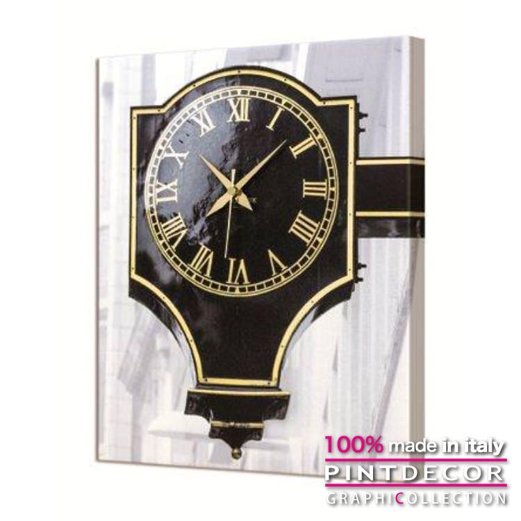 ウォールクロック PINTDECOR グラフィコレクション BLACK CLOCK G3592 ピントデコール イタリア アート クロック 壁時計 リビング インテリア デザイン モダン ホテルライク 新居 イタリア直輸入