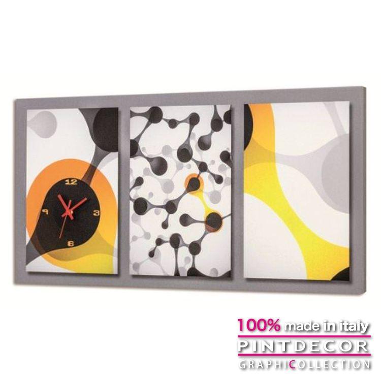 ウォールクロック PINTDECOR グラフィコレクション GIALLO E NERO G3594|ピントデコール イタリア アート クロック 壁時計 リビング インテリア デザイン モダン ホテルライク 新居 イタリア直輸入