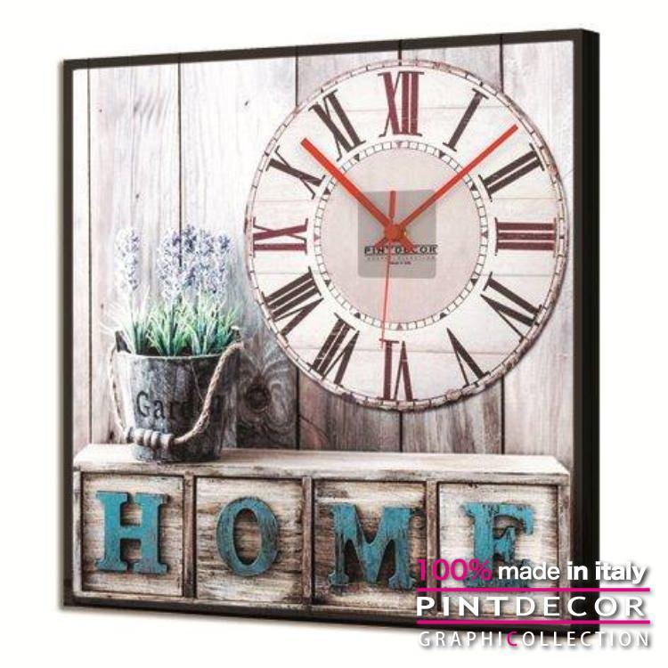 ルミナスクロック PINTDECOR グラフィコレクション HOME SWEET HOME GL3520|ピントデコール イタリア アート クロック 壁時計 蓄光 ルミナス リビング インテリア デザイン モダン ホテルライク 新居 イタリア直輸入