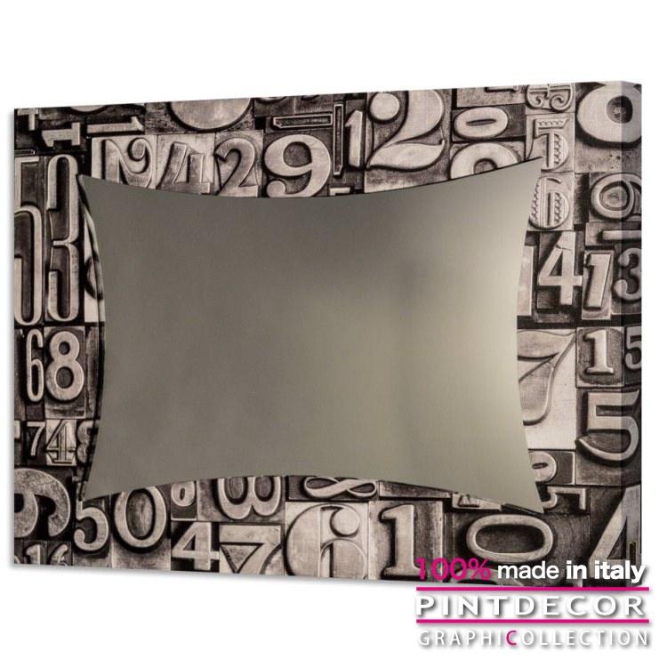 ウォールミラー PINTDECOR グラフィコレクション NUNERI TIPOGRAFICI GS4368 ピントデコール イタリア アート ルームミラー ミラー 壁掛け鏡 リビング インテリア デザイン モダン ホテルライク 新居 イタリア直輸入
