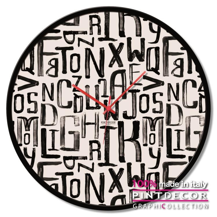 ラウンドクロック PINTDECOR グラフィコレクション LETTERE GTO6610|ピントデコール イタリア アート クロック 壁時計 リビング インテリア デザイン モダン ホテルライク 新居 イタリア直輸入