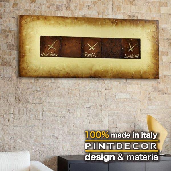 ウォールクロック|PINTDECOR CRETA P1162 ピントデコール イタリア モダンアート リビング ダイナミック デコラティブ ミックステクスチャー 立体 ハンドメイド オブジェ ホテルライク 壁掛け時計 世界 タイムゾーン 茶 ブラウン