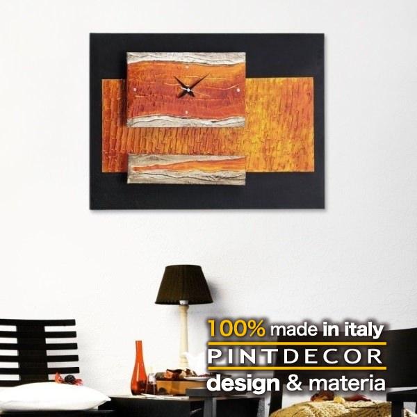 ウォールクロック|PINTDECOR SMERALDO P2152 ピントデコール イタリア モダンアート リビング ダイナミック デコラティブ ミックステクスチャー 立体 ハンドメイド オブジェ ホテルライク 壁掛け時計 新居 近代的 モダン オレンジ