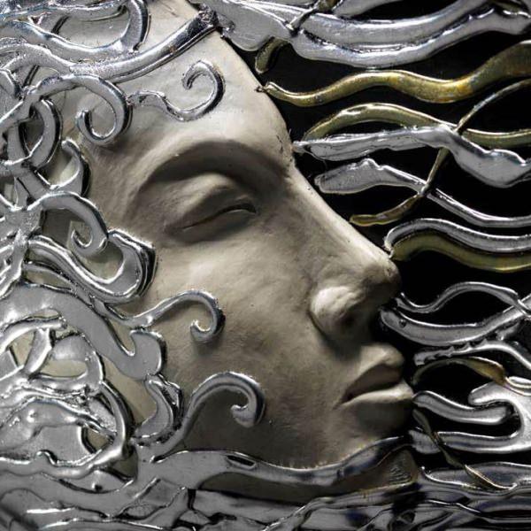 アートパネル|PINTDECOR RICCIOLI D'ARGENTO P2270 ピントデコール イタリア モダンアート リビング ダイナミック デコラティブ ミックステクスチャー 立体 ハンドメイド オブジェ ホテルライク シック 絵画 新居 黒 シルバー