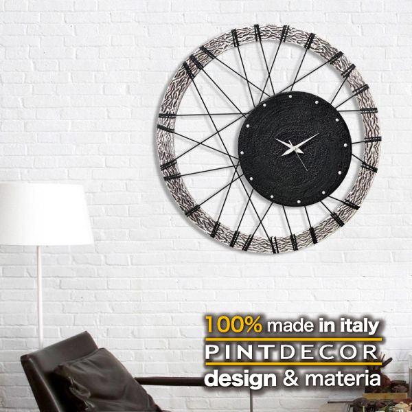 ウォールクロック|PINTDECOR RUOTA P2812 ピントデコール イタリア モダンアート リビング ダイナミック デコラティブ ミックステクスチャー 立体 ハンドメイド オブジェ ホテルライク 壁掛け時計 新居 近代的 モダン