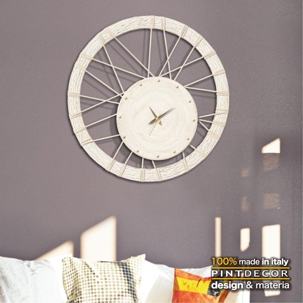 ウォールクロック|PINTDECOR RUEDA P2813 ピントデコール イタリア モダンアート リビング ダイナミック デコラティブ ミックステクスチャー 立体 ハンドメイド オブジェ ホテルライク 壁掛け時計 ホワイト 車輪
