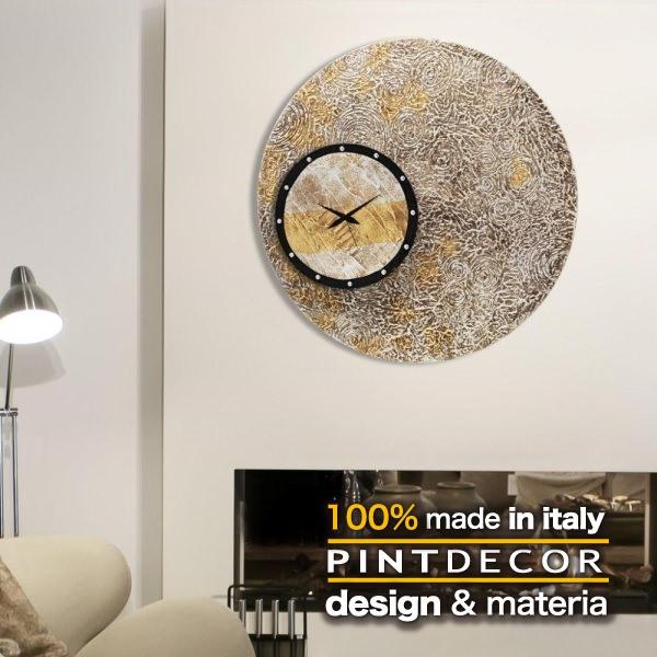 ウォールクロック|PINTDECOR ECCENTRICO P2860 ピントデコール イタリア モダンアート リビング ダイナミック デコラティブ ミックステクスチャー 立体 ハンドメイド オブジェ ホテルライク 壁掛け時計 新居 近代的 モダン