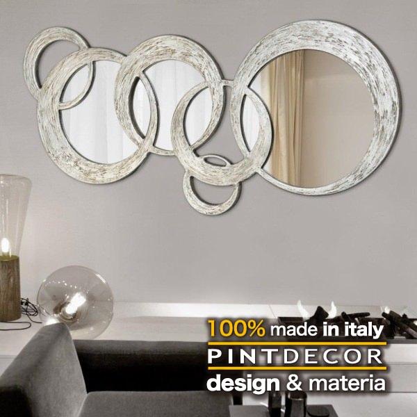 ウォールミラー|PINTDECOR CIRCLES P2934 ピントデコール イタリア モダンアート リビング ダイナミック デコラティブ ミックステクスチャー 立体 ハンドメイド オブジェ ホテルライク 壁掛けミラー 鏡 エッチング 新居