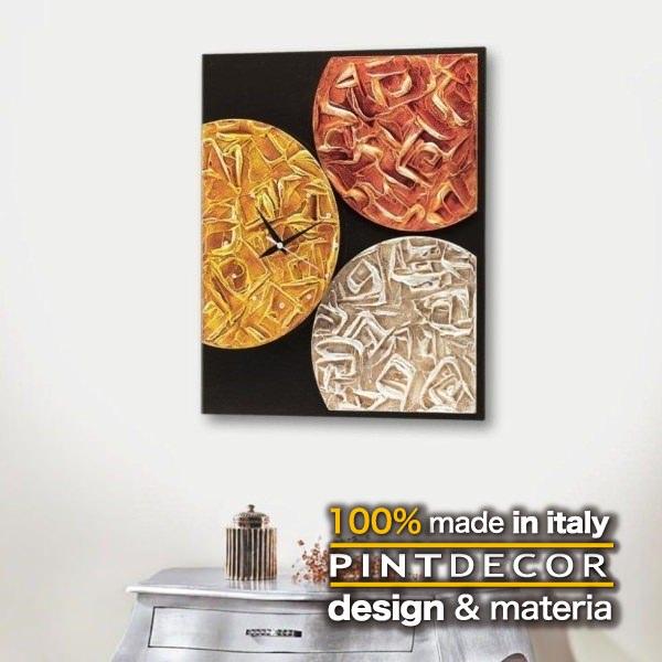 ウォールクロック|PINTDECOR MAGMA TIME P3018 ピントデコール イタリア モダンアート リビング ダイナミック デコラティブ ミックステクスチャー 立体 ハンドメイド オブジェ ホテルライク 壁掛け時計 新居 近代的 モダン 赤 オレンジ ゴールド