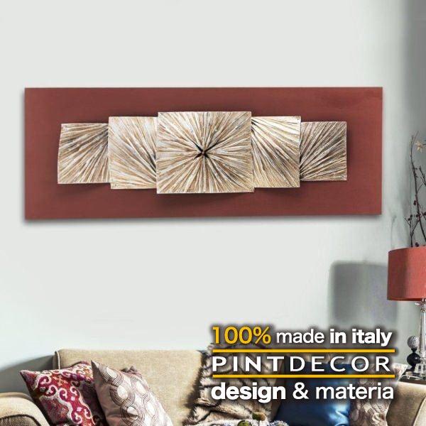 ウォールクロック|PINTDECOR FOLD TIME P3028 ピントデコール イタリア モダンアート リビング ダイナミック デコラティブ ミックステクスチャー 立体 ハンドメイド オブジェ ホテルライク 壁掛け時計 新居 近代的 モダン 赤 レッド ゴールド
