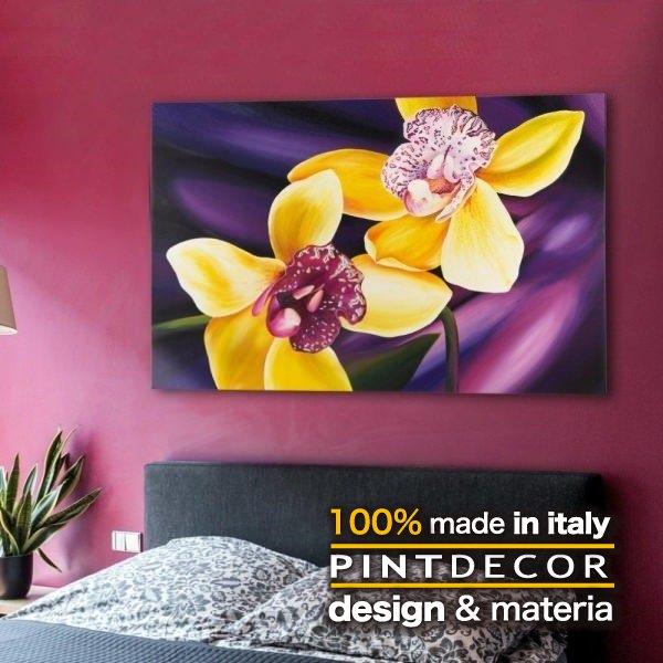 アートパネル|PINTDECOR ORCHIDEA P3038 ピントデコール イタリア モダンアート リビング ダイナミック デコラティブ ミックステクスチャー 立体 ハンドメイド オブジェ ホテルライク ボタニカル 花 植物 エッチング 絵画 新居 パープル 紫