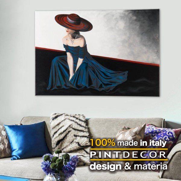 アートパネル|PINTDECOR PENSIERO ROMANTICO P3046 ピントデコール イタリア モダンアート リビング ダイナミック デコラティブ ミックステクスチャー 立体 ハンドメイド オブジェ ホテルライク 人物画 女性 エッチング 絵画 新居 近代アート ブルー 青 ベルベット