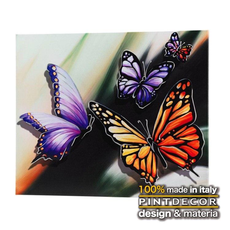 アートパネル|PINTDECOR FARFALLE P3208 ピントデコール イタリア モダンアート リビング ダイナミック デコラティブ ミックステクスチャー 立体 ハンドメイド オブジェ ホテルライク 蝶 パピヨン キャンバス 絵画 新居 アート パープル オレンジ 紫