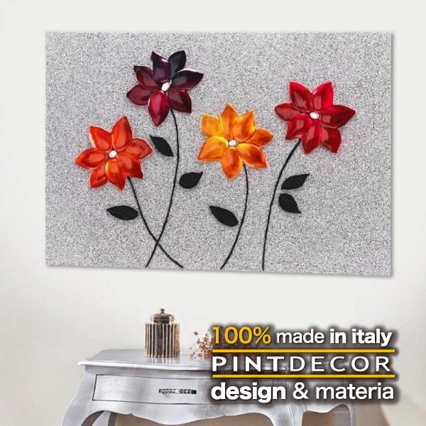 アートパネル PINTDECOR GLITTER FLOWERS P3220 ピントデコール イタリア モダンアート リビング ダイナミック デコラティブ ミックステクスチャー 立体 ハンドメイド オブジェ ホテルライク ボタニカル 花 植物 キャンバス 絵画 新居 シルバー メタリック 赤 オレンジ